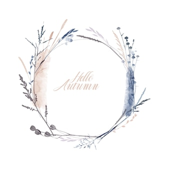 Watercolor vector illustration of floral wreath. seasons herb and plants.