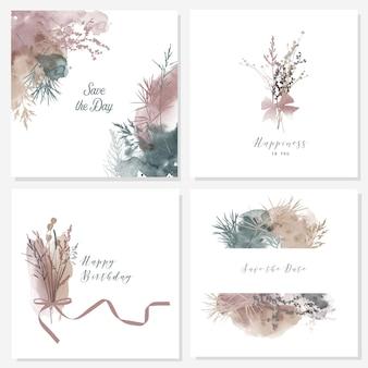 花の背景の水彩ベクトルイラスト。バースデーカードテンプレート