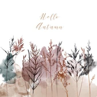 Акварельные векторные иллюстрации цветочного фона. шаблон поздравительной открытки