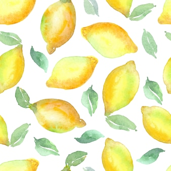 Watercolor vector lemon seamless pattern