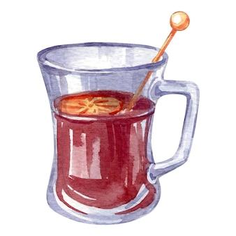 Акварель вектор рождества и зимнего напитка, изолированные на белом. ручной обращается эскиз глинтвейна.