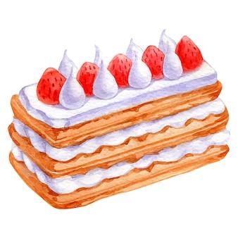 케이크의 흰색 손으로 그린 스케치에 고립 된 크리스마스 디저트의 수채화 벡터