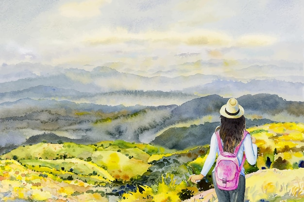 Watercolor vector painting young women adventure and travel on mountains top view