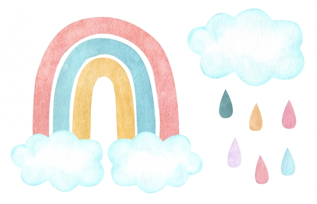 Watercolor vector rainbow with clouds and rain. nursery, baby shower illustration.