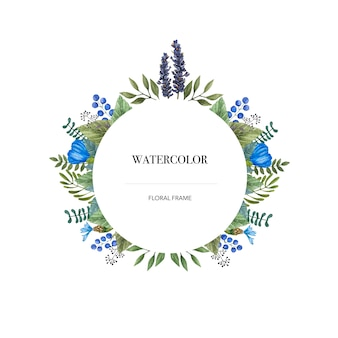 Watercolor vector round frame of colorful wild flowers.
