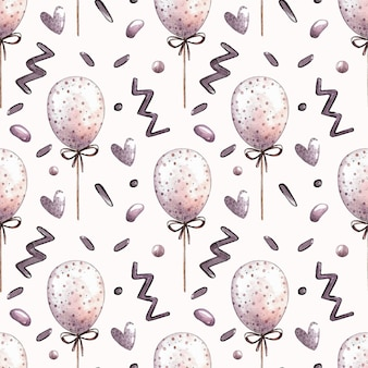 Watercolor vector seamless pattern with balloons