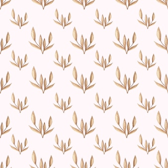 Watercolor vector seamless pattern with gold forest leaves in vintage style. design backgr
