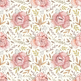 Watercolor vector seamless pattern with pastel peonies, forest leaves and berries in vinta