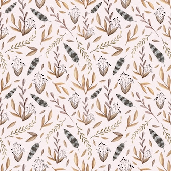 Watercolor vector seamless pattern with peonies, forest leaves, berries, feathers in vinta