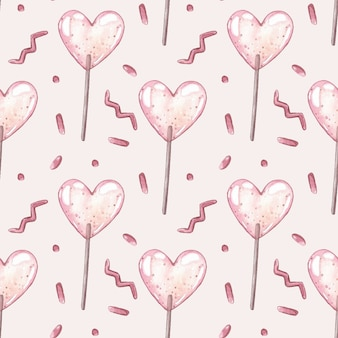 Watercolor vector seamless pattern with pink lollipops.