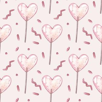 ピンクのキャンディーと水彩ベクトルシームレスパターン。