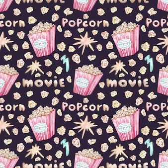 Watercolor vector seamless pattern with popcorn bucket
