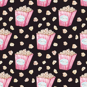 Watercolor vector seamless pattern with popcorn bucket.
