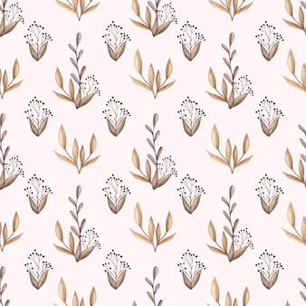 Watercolor vector seamless pattern with wild flowers, forest leaves and berries in vintage
