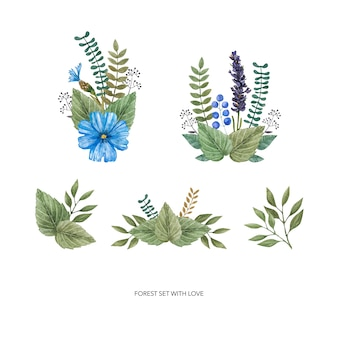 Watercolor vector set of colorful wild flowers.