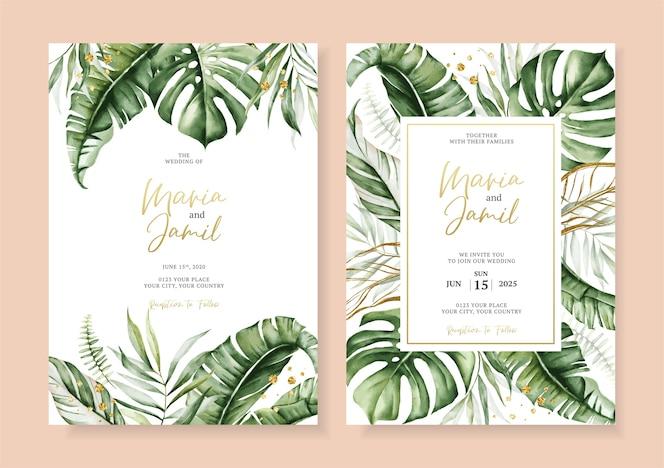 熱帯の葉フレームと水彩ベクトルセット結婚式の招待カードテンプレートデザイン