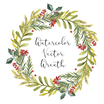 Watercolor vector winter wreath