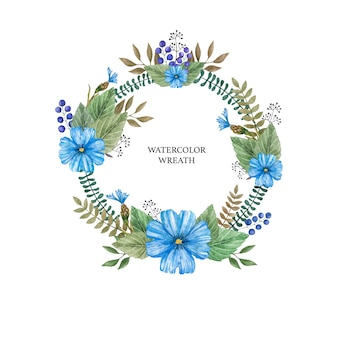 Watercolor vector wreath of colorful wild flowers.