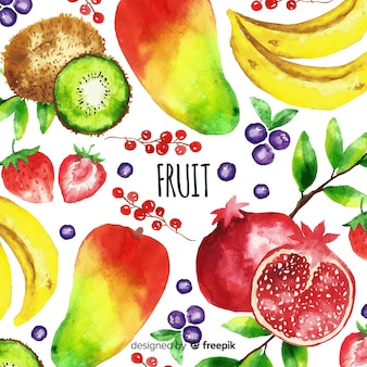 Watercolor vegetable and fruits background