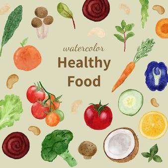 수채화 야채와 과일 배경 프리미엄 벡터