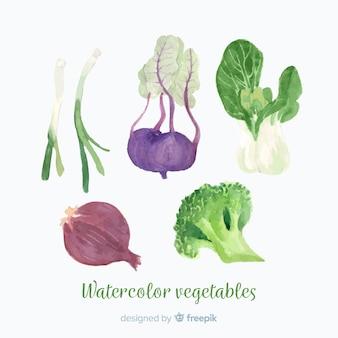 Акварельные овощи и фрукты фон