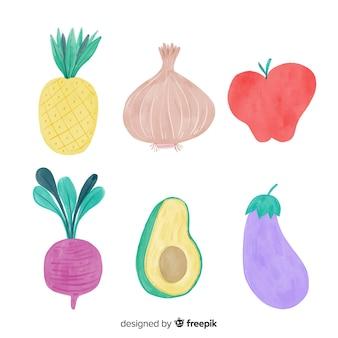 수채화 야채와 과일 배경