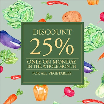Watercolor vegetables discount banner