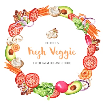 Watercolor vegetables frame