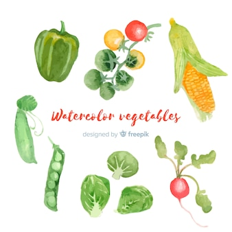 Watercolor vegetables and fruits background