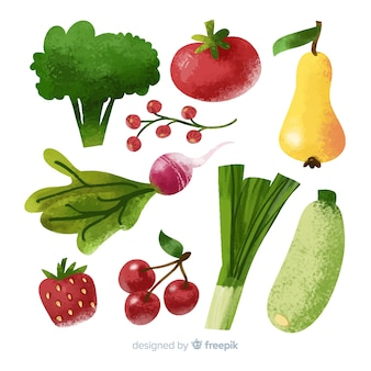 Watercolor vegetables and fruits pack