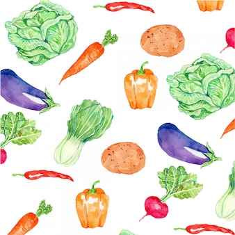Watercolor vegetables seamless pattern
