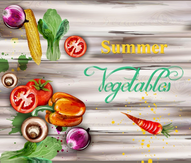 Watercolor vegetables on wooden background