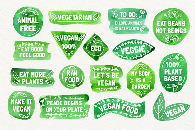 Collezione di distintivi vegetariani ad acquerello