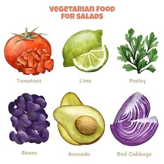 수채화 채식 음식 컬렉션