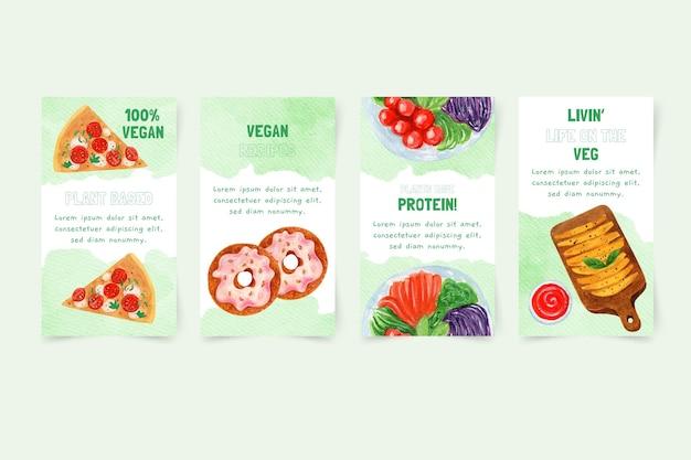 Акварельные вегетарианские рассказы о еде в instagram