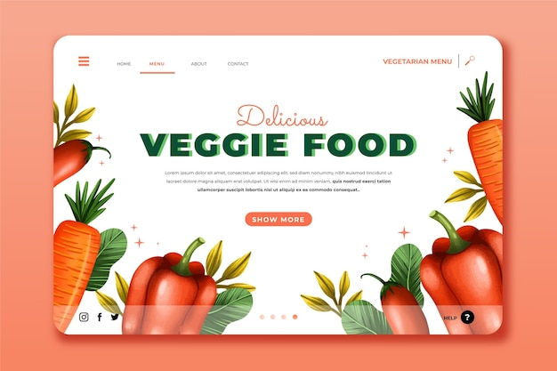 수채화 채식 음식 방문 페이지