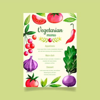 Watercolor vegetarian food menu template
