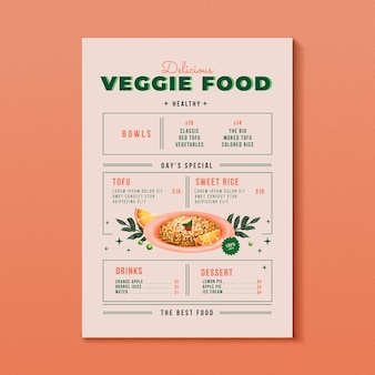 Watercolor vegetarian food menu