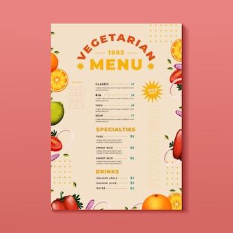 Watercolor vegetarian menu design