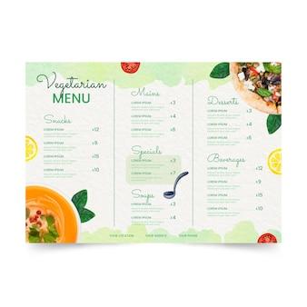 Modello di menu vegetariano ad acquerello
