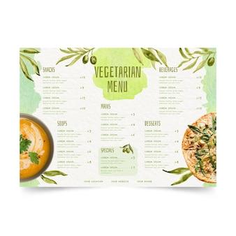 Menu vegetariano ad acquerello