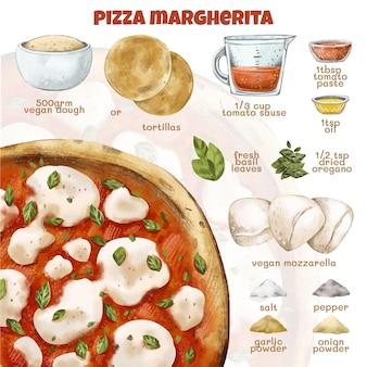 Watercolor vegetarian recipe
