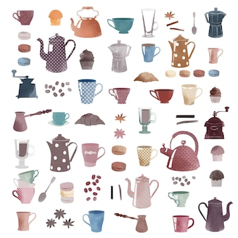 Watercolor vektor coffee retro set