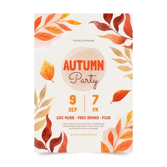 Watercolor vertical autumn flyer template