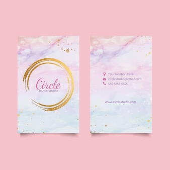 Watercolor vertical business card template
