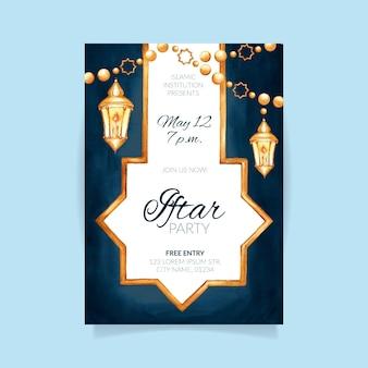 Modello di poster iftar verticale dell'acquerello Vettore gratuito