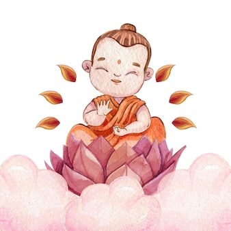 Watercolor vesak day illustration