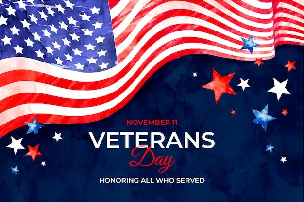 Watercolor veterans day background