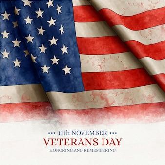 Watercolor veterans day concept