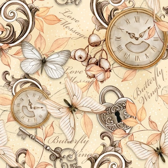 Watercolor victorian shabby chic vintage steampunk seamless pattern
